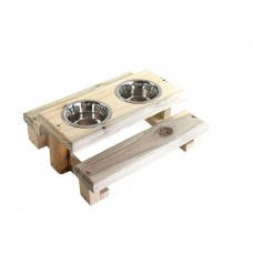 RAT PICNIC TABLE WOODEN(DOUBLE BOWL)